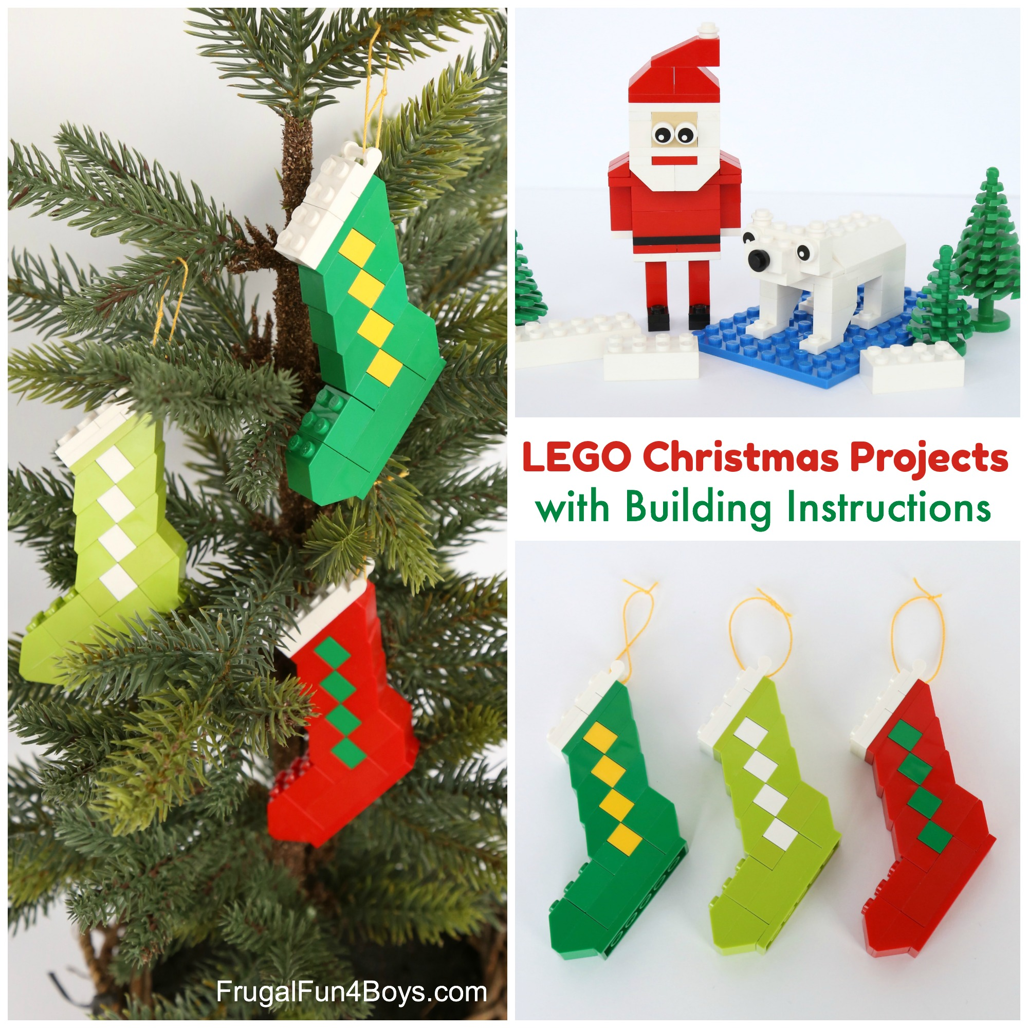 lego christmas projects with instructions santa polar bear and stocking ornaments