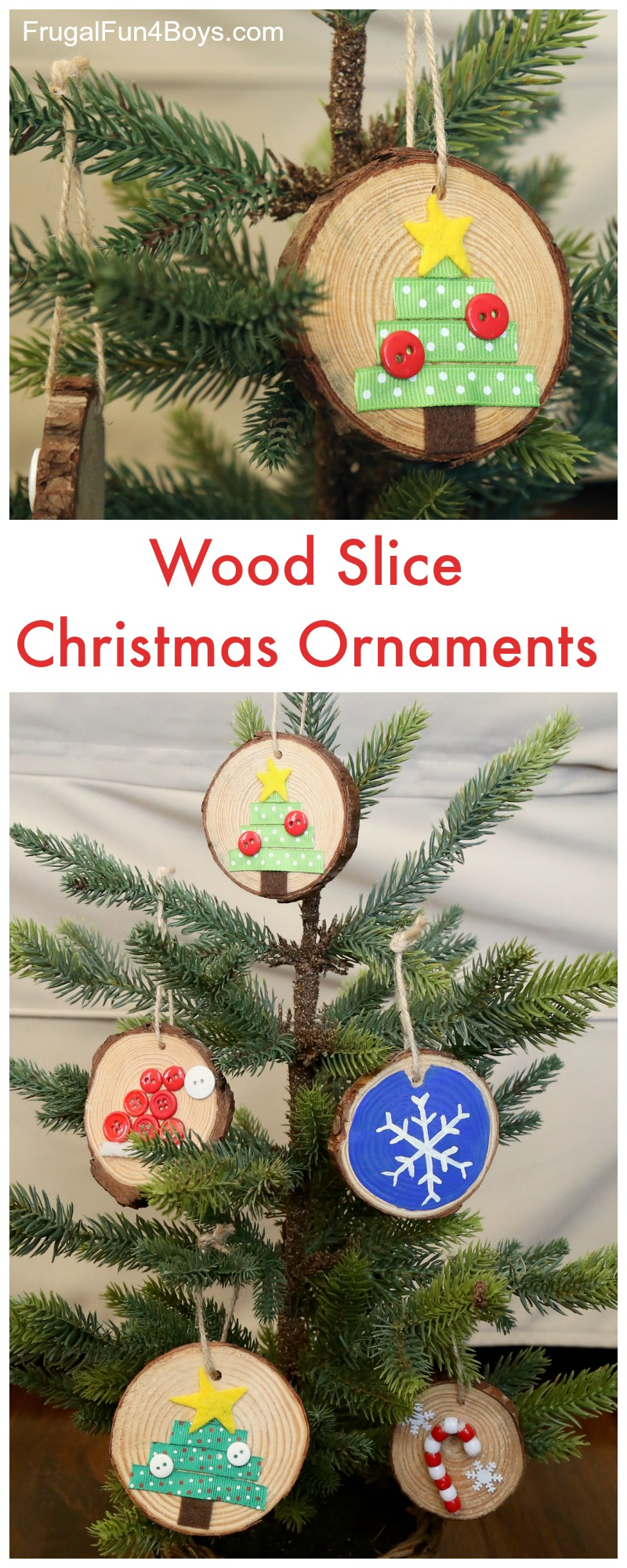 How To Make Adorable Wood Slice Christmas Ornaments Frugal Fun For