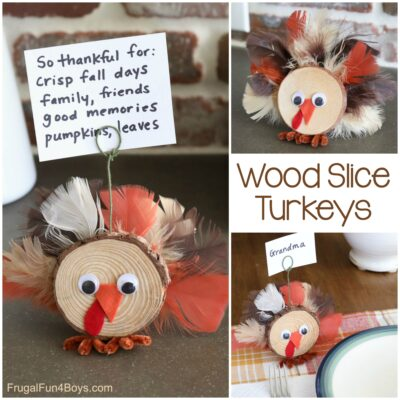 Wood Slice Turkey Craft for Thanksgiving