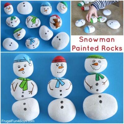 Snowman Painted Rocks – Build a Snowman!