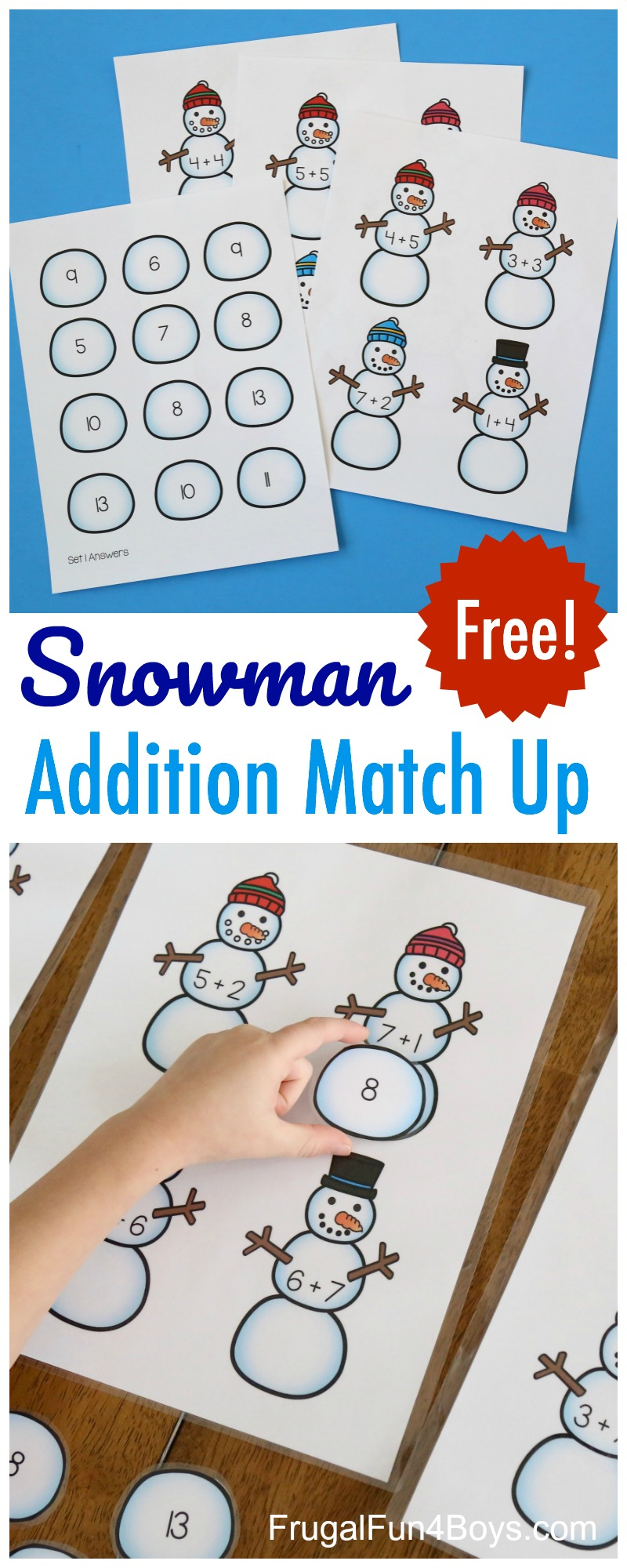 Snowman Addition Match-Up Printable Math Game