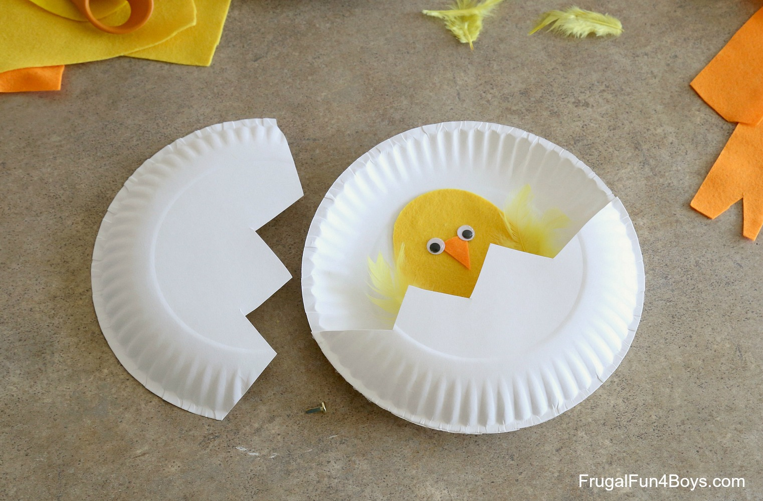 Attach the top half with a paper fastener. & Paper Plate Craft: Hatching Chicks!