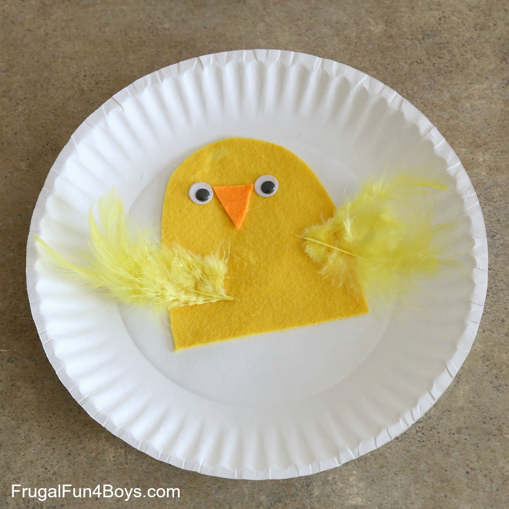 Step 3 Cut a second paper plate in half so that it looks like a cracked egg. Glue the bottom half to your first paper plate by putting glue on the edges of ... & Paper Plate Craft: Hatching Chicks!