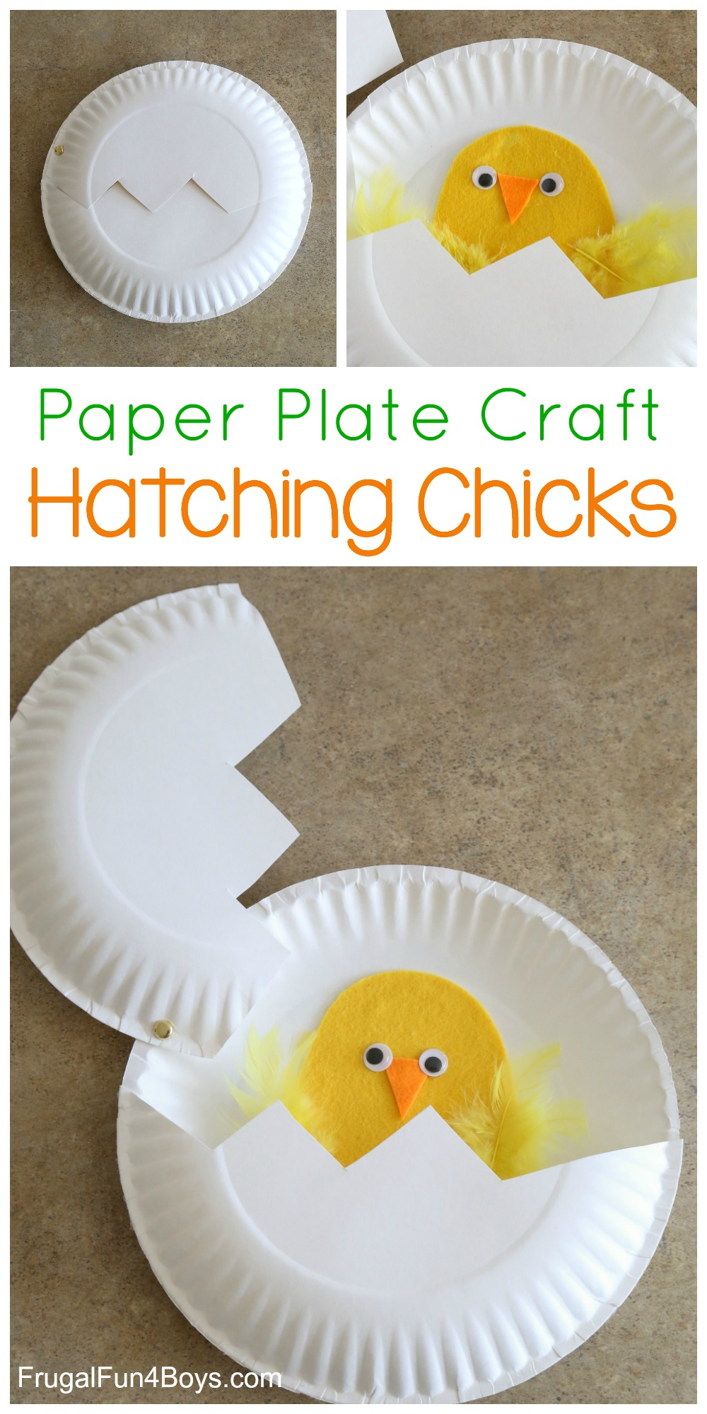Use paper plates to make a chick that u201chatchesu201d out of an egg. My preschooler and kindergartner loved this!  sc 1 st  Frugal Fun for Boys & Paper Plate Craft: Hatching Chicks!