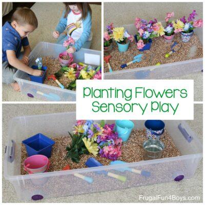 Planting Flowers Sensory Bin
