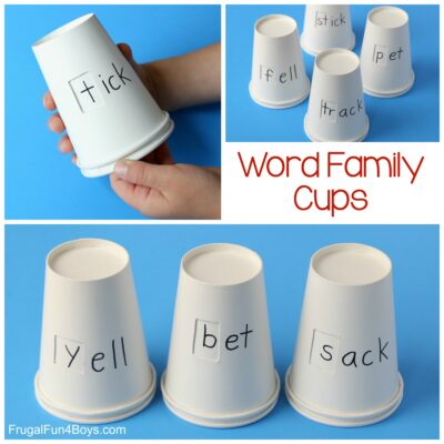 Word Family Cups Phonics Activity for Kids