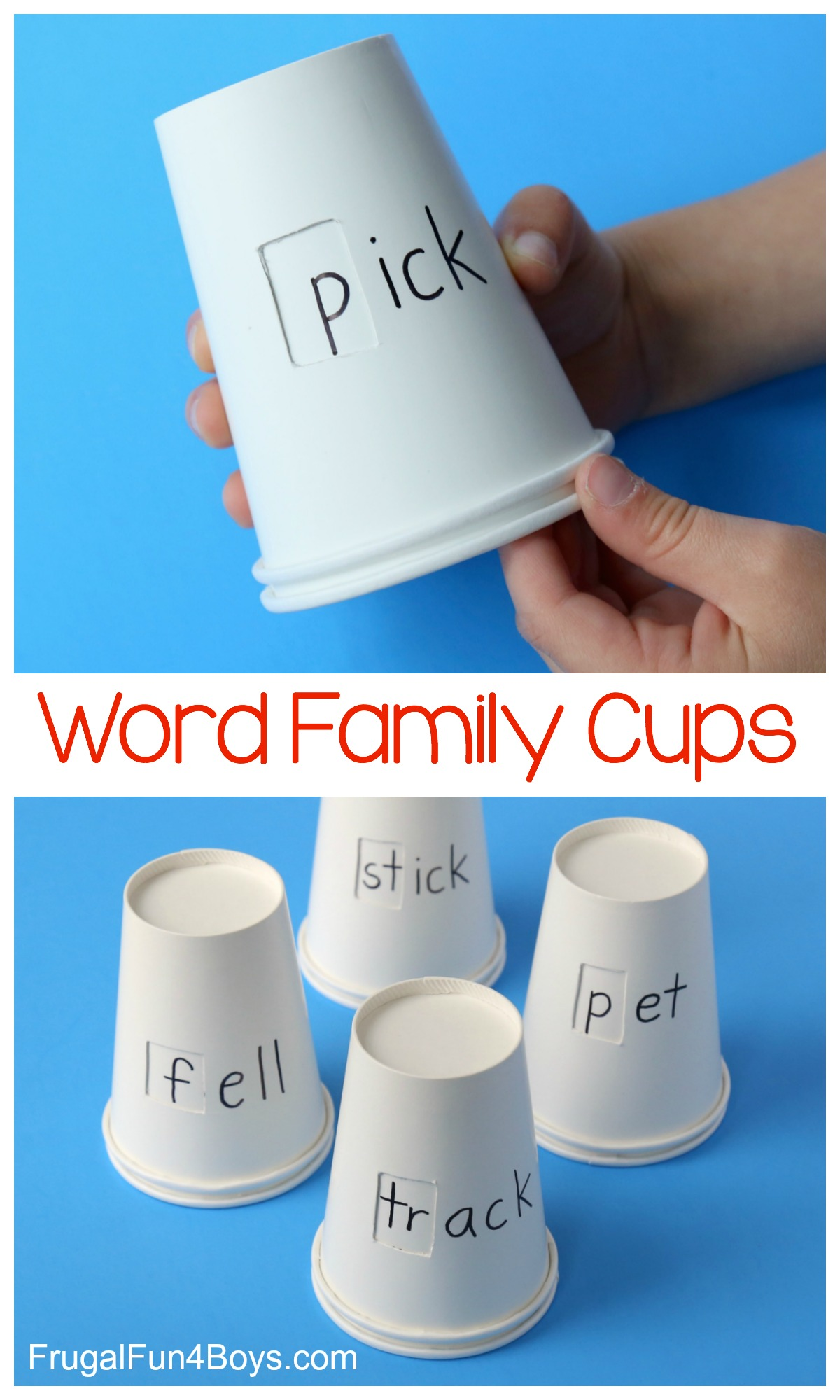 Word Family Cups Phonics Activity for Kids Frugal Fun
