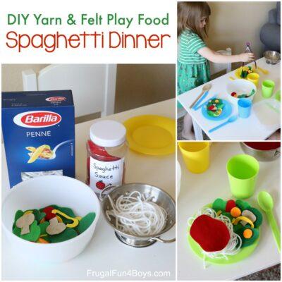 Make an adorable play food spaghetti dinner… out of yarn & felt!