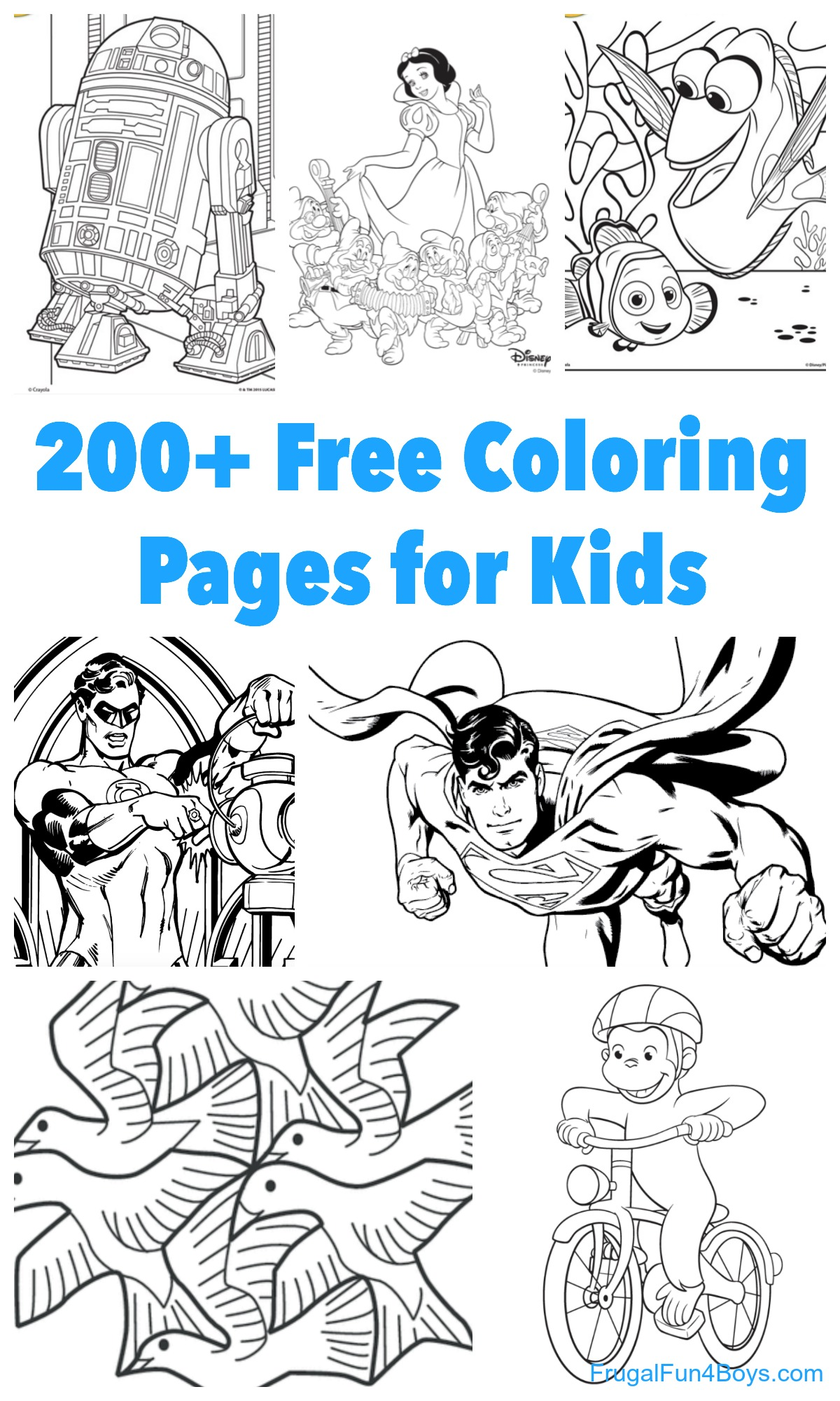 200+ Printable Coloring Pages for Kids - Frugal Fun For ...