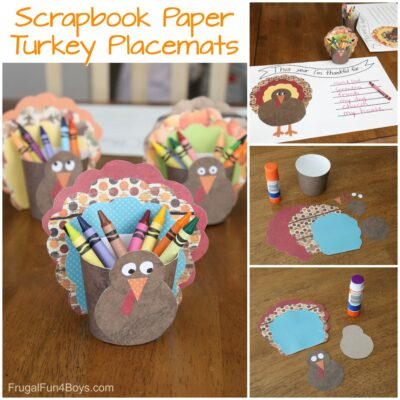 Scrapbook Paper Turkey Crayon Holder and Placemat