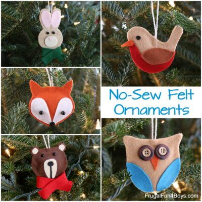 The Cutest Ever No-Sew Felt Woodland Animal Christmas Ornaments