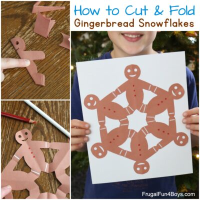 How to Fold and Cut Gingerbread Men Snowflakes