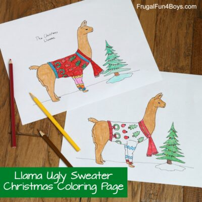 Llama Ugly Sweater Christmas Coloring Page