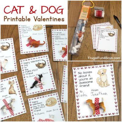 Cats and Dogs Printable Valentine's Day Cards
