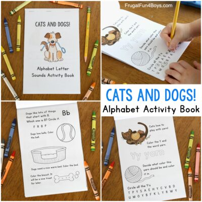 Cats and Dogs Themed Printable Letter Sounds Activity Book