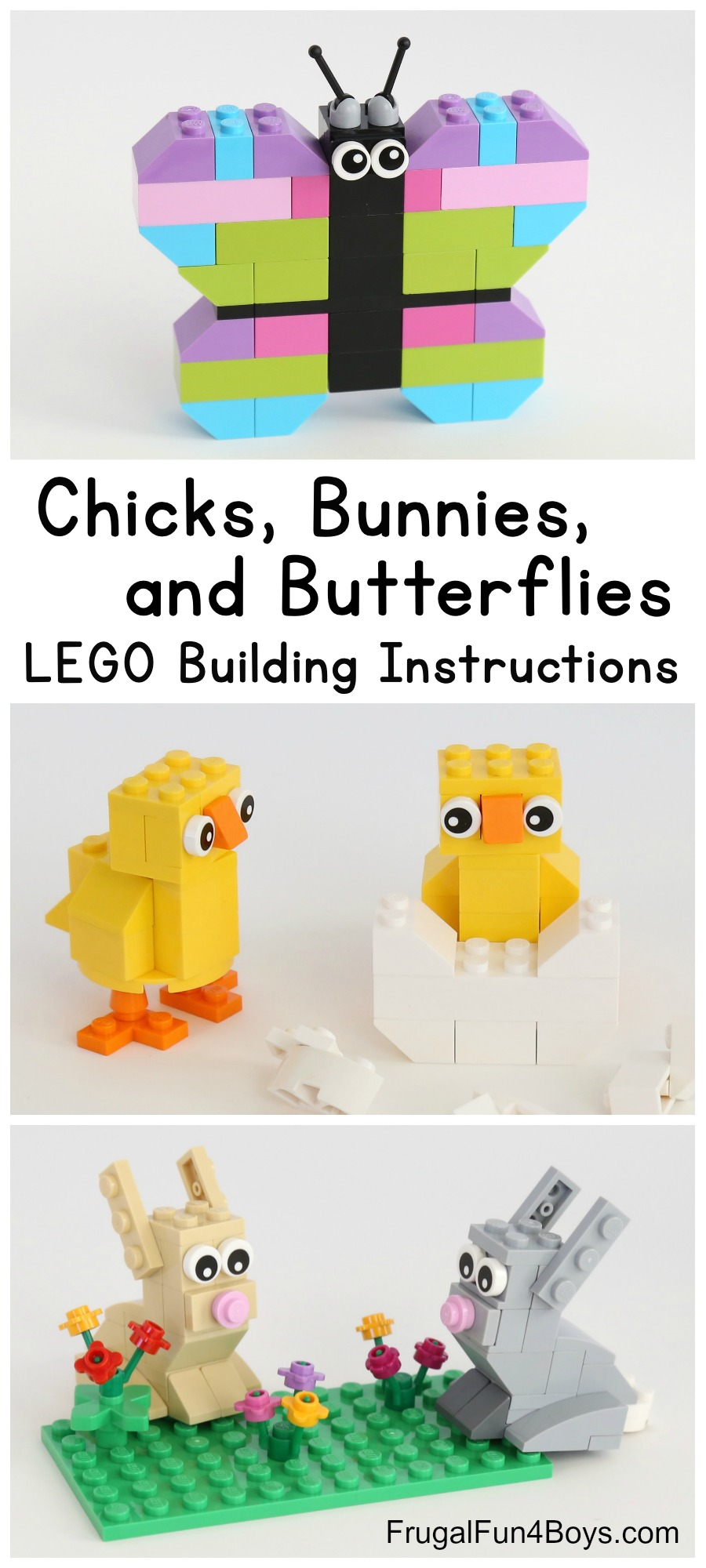 Spring Builds! How to Make Chicks, Bunnies, and Butterflies with LEGO Bricks - Frugal Fun For Boys and Girls