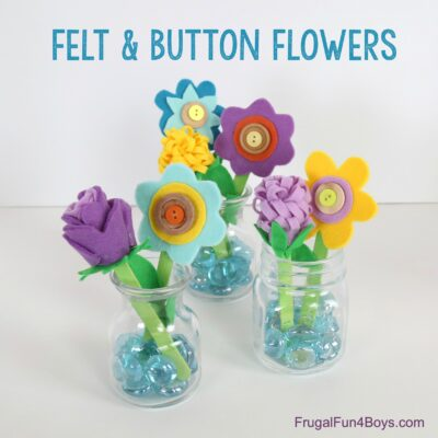 Felt, Button, and Popsicle Stick Flower Craft