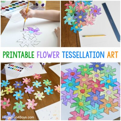 Flower Tessellation Activity for Kids (with a Printable Template)