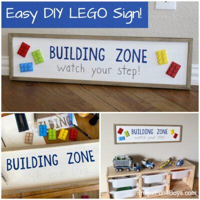 Easy DIY LEGO Building Zone Sign