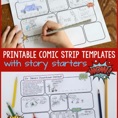 Printable Comic Strip Templates with Story Starters