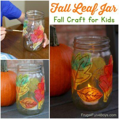 Fall Leaf Mason Jar Craft for Kids