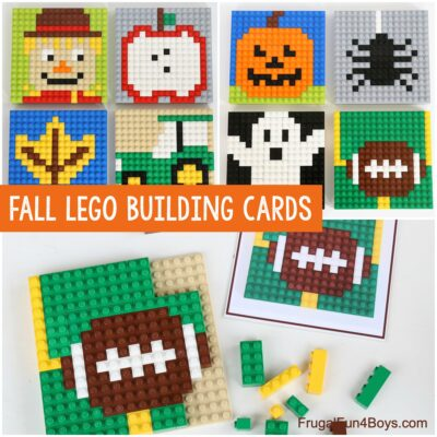 Fall LEGO Mosaic Ideas with Printable Building Cards
