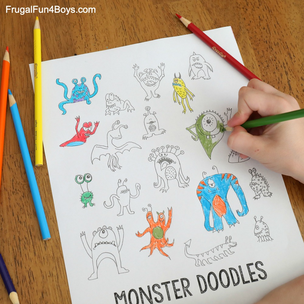 Monster Doodles Drawing Ideas for Kids - Frugal Fun For ...