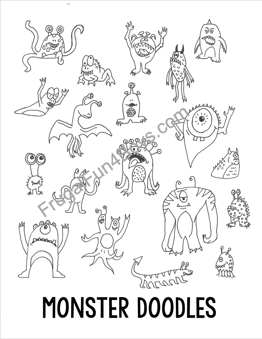 Monster Doodles Drawing Ideas for Kids