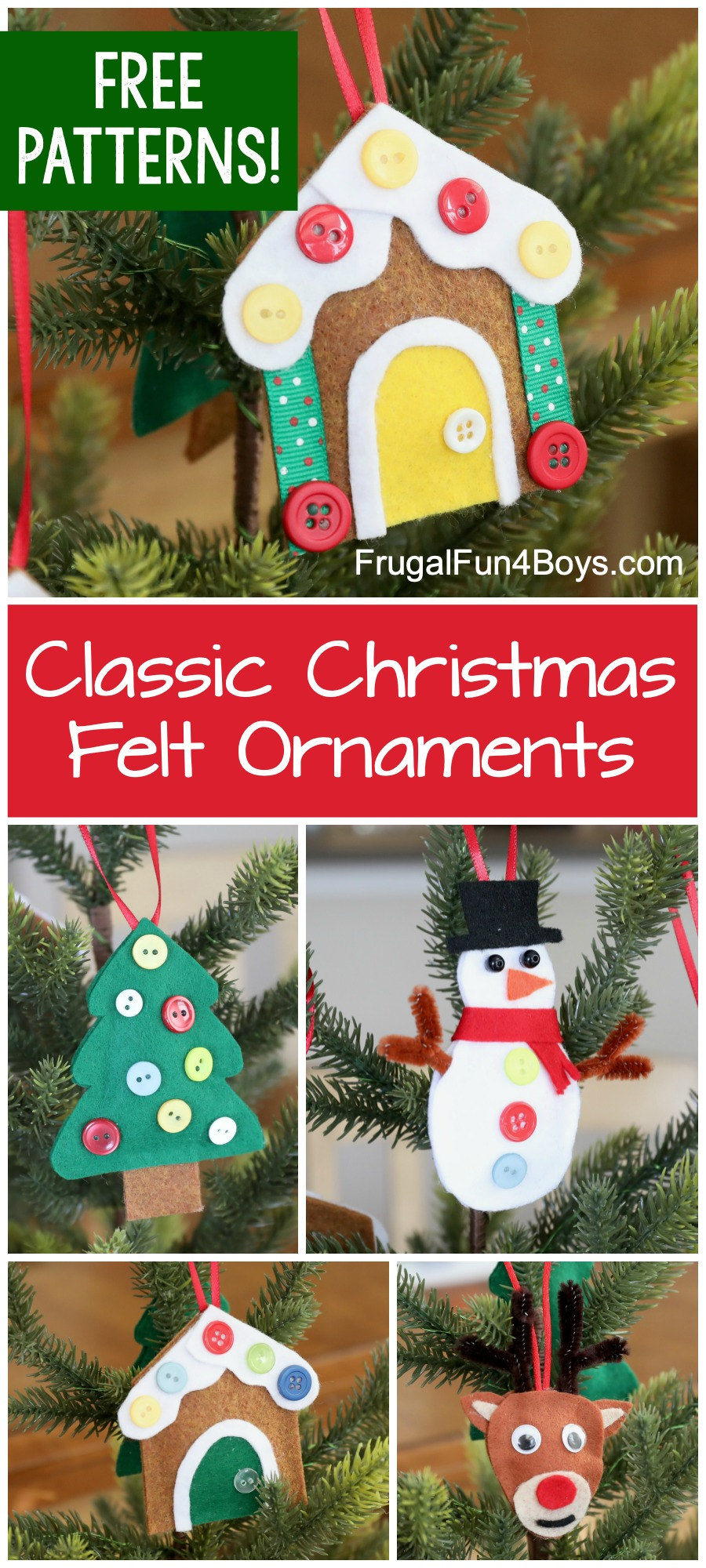 Classic Felt Christmas Ornaments with printable patterns