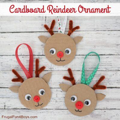 Cardboard Reindeer Ornament Christmas Craft for Kids