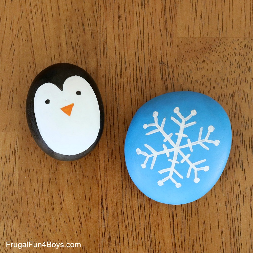 Winter Rock Painting Ideas Frugal Fun For Boys And Girls