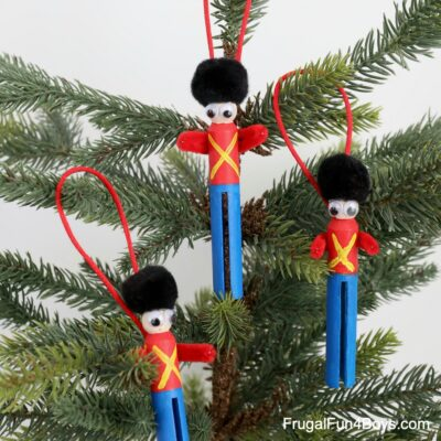 Clothespin Toy Soldier Ornament Christmas Craft for Kids