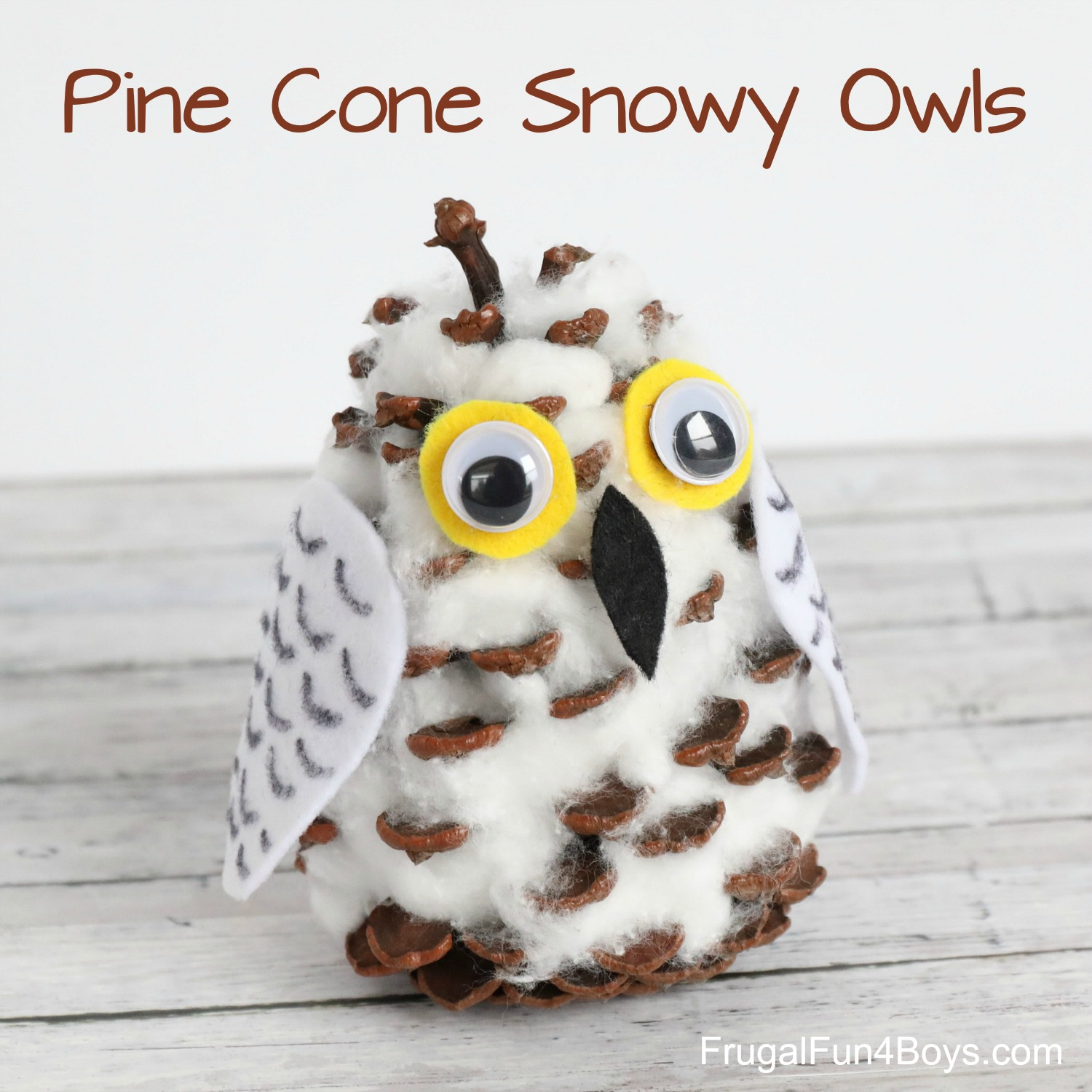 Pine Cone Snowy Owl Craft for Kids
