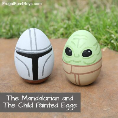 Baby Yoda and Mandalorian Painted Eggs