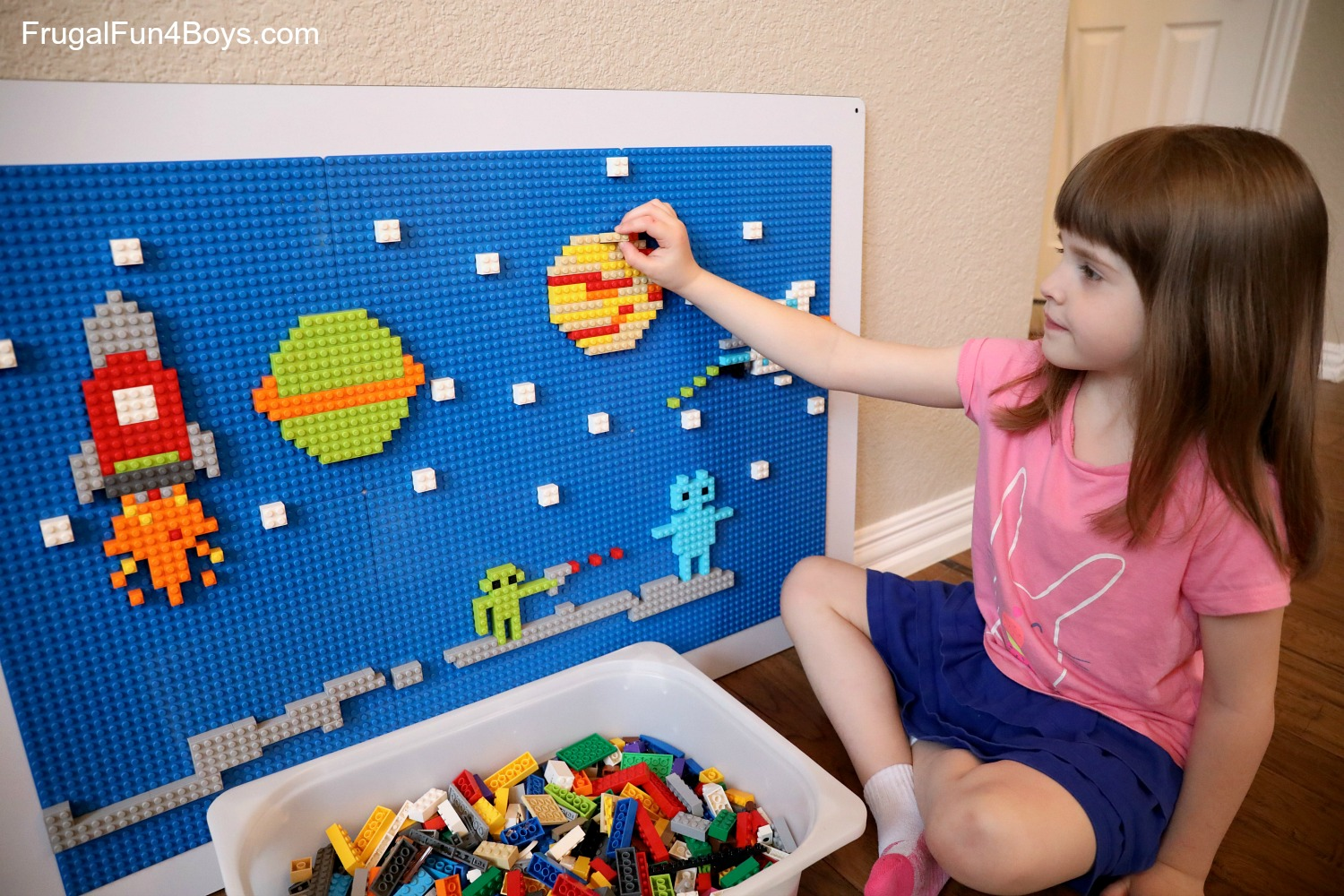 Lego wall with space scene