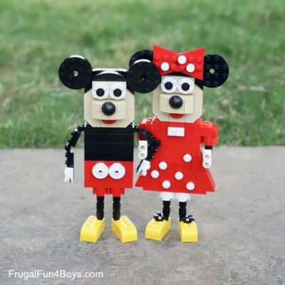 Build a Mickey and Minnie Mouse out of LEGO Bricks