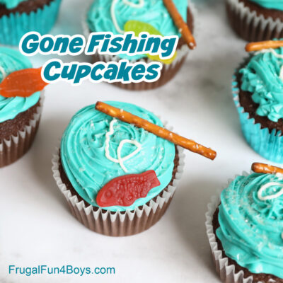 Adorable (and easy!) Gone Fishing Cupcakes