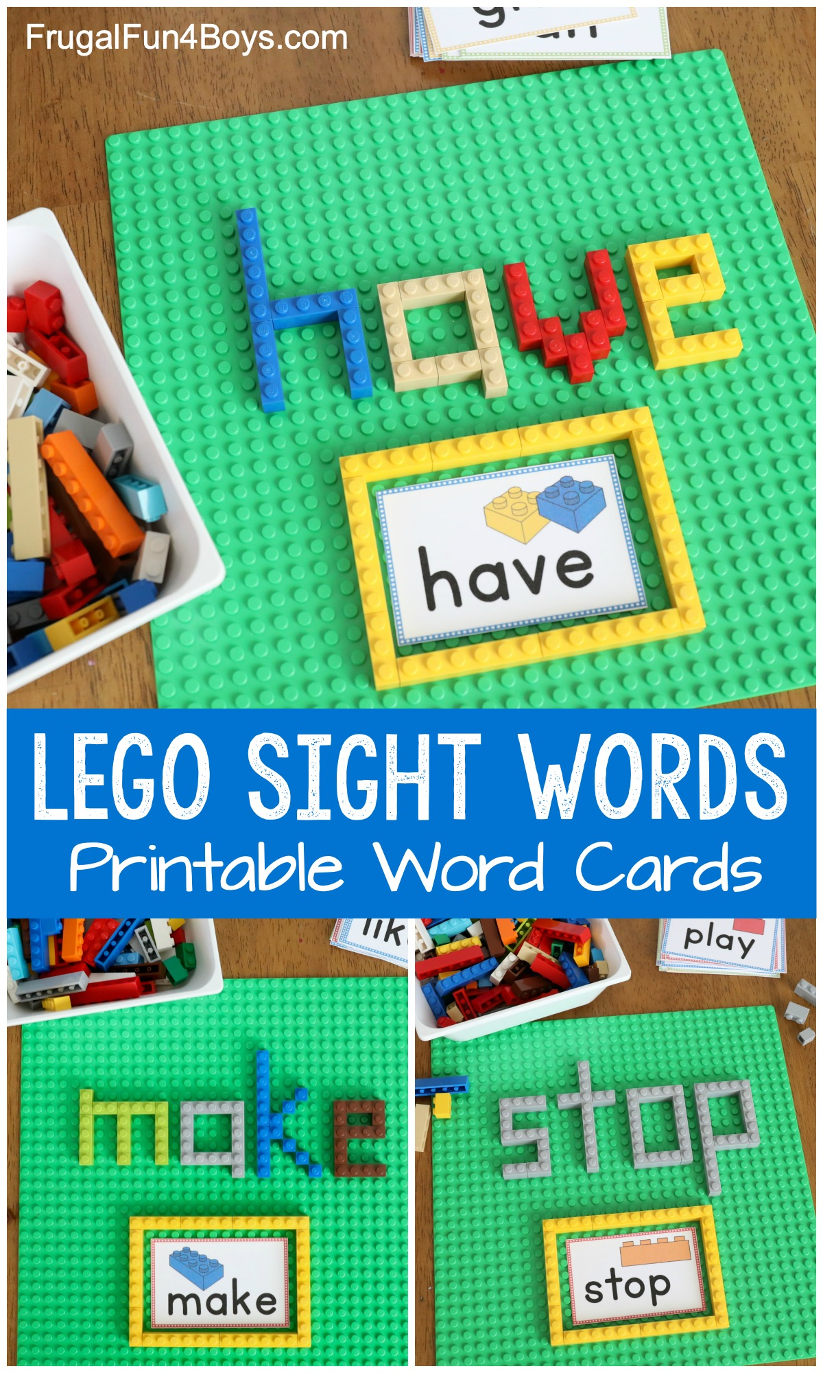 LEGO Sight Words - Printable Word Cards