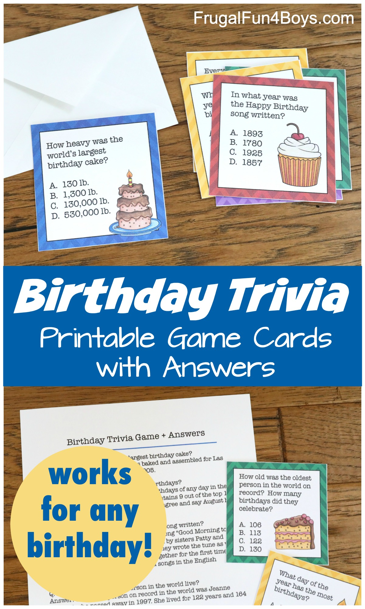 Printable Birthday Trivia Game