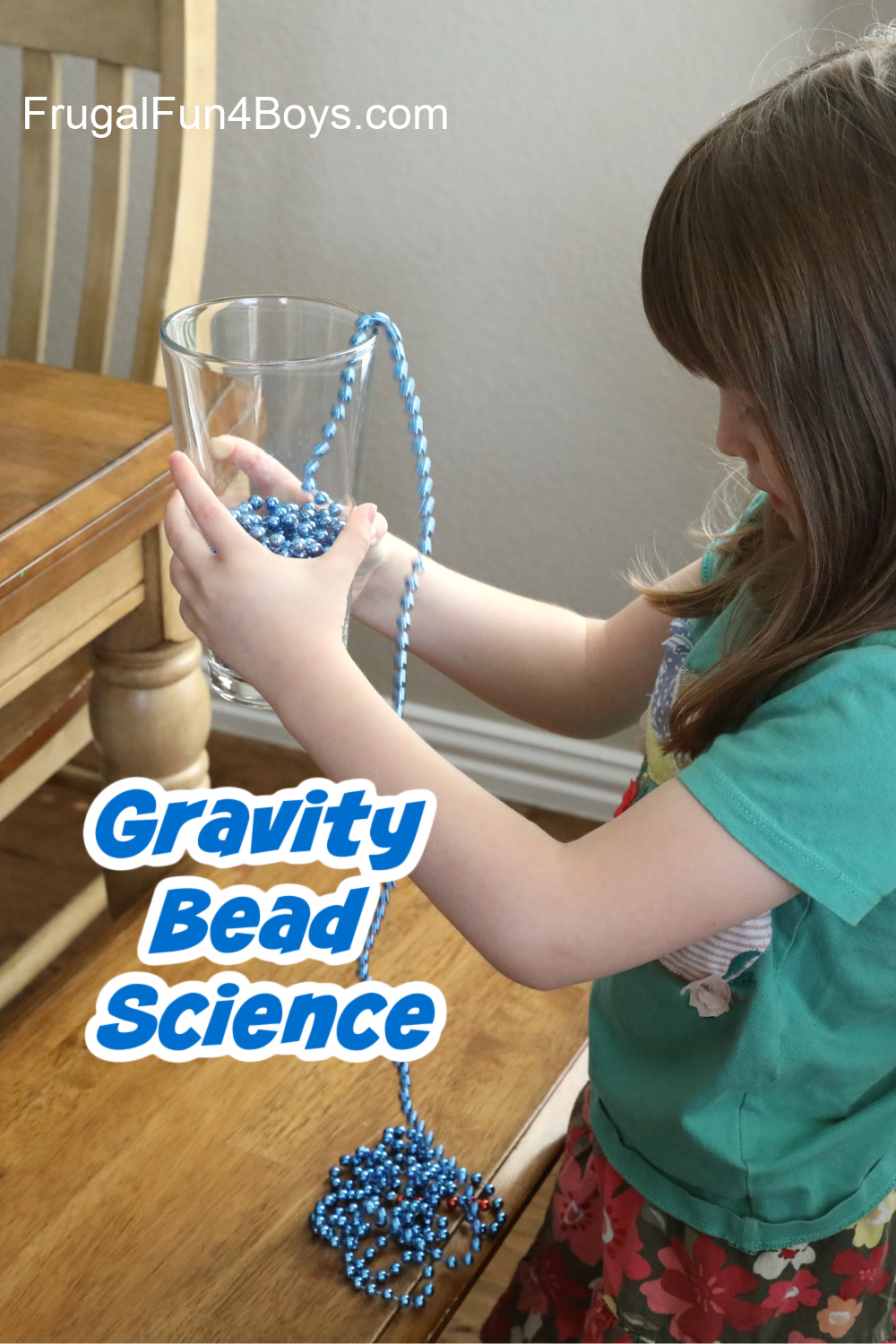 Anti-gravity beads jumping out of a glass