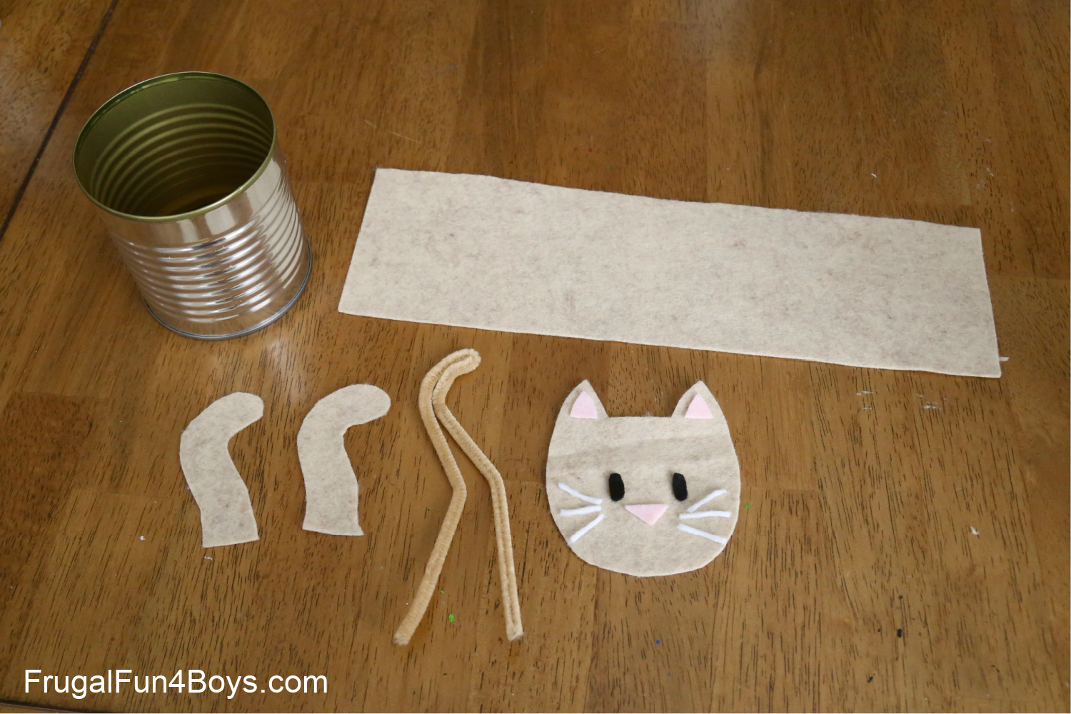 Pieces needed to make a cat pencil organizer