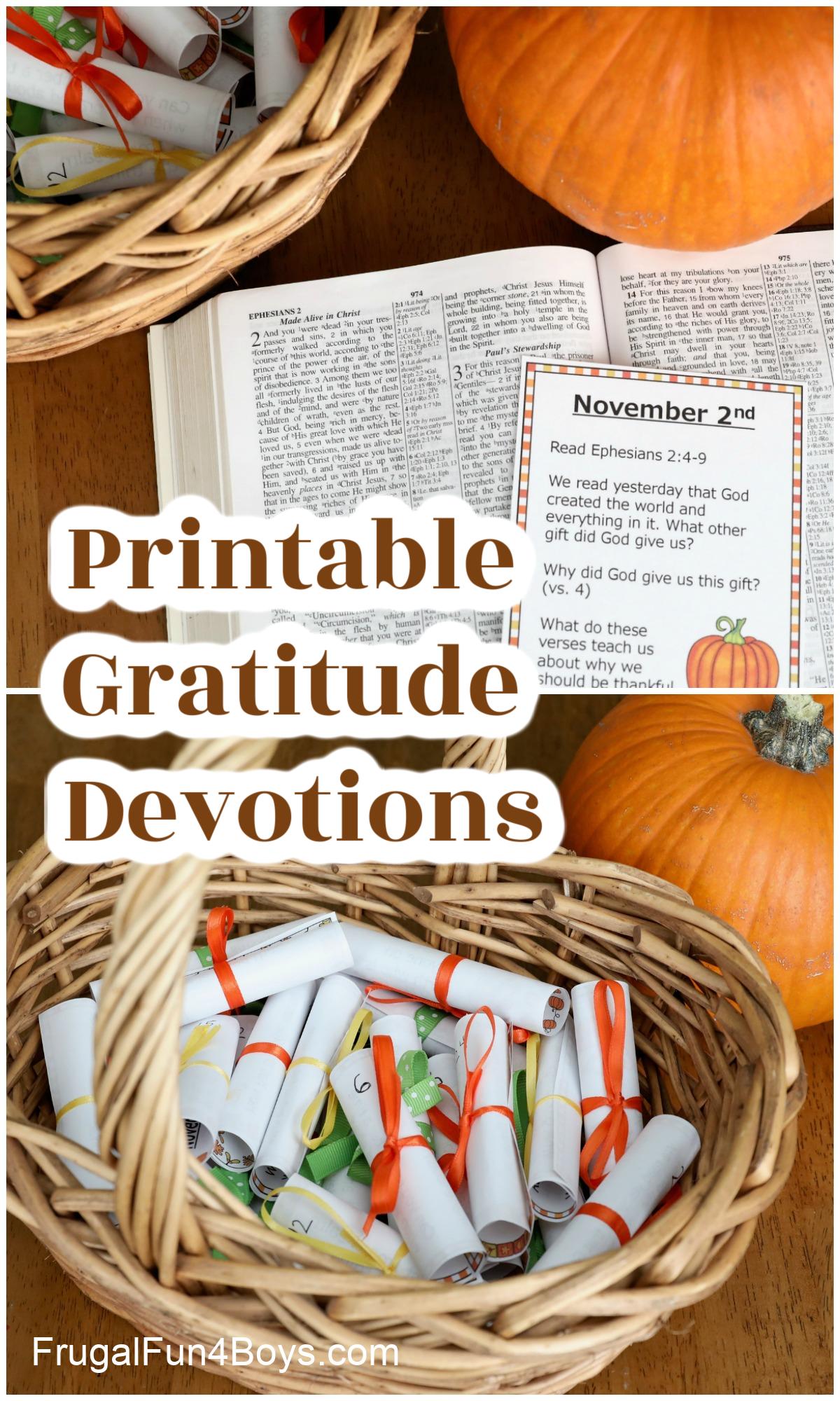 Printable Gratitude Devotions for November