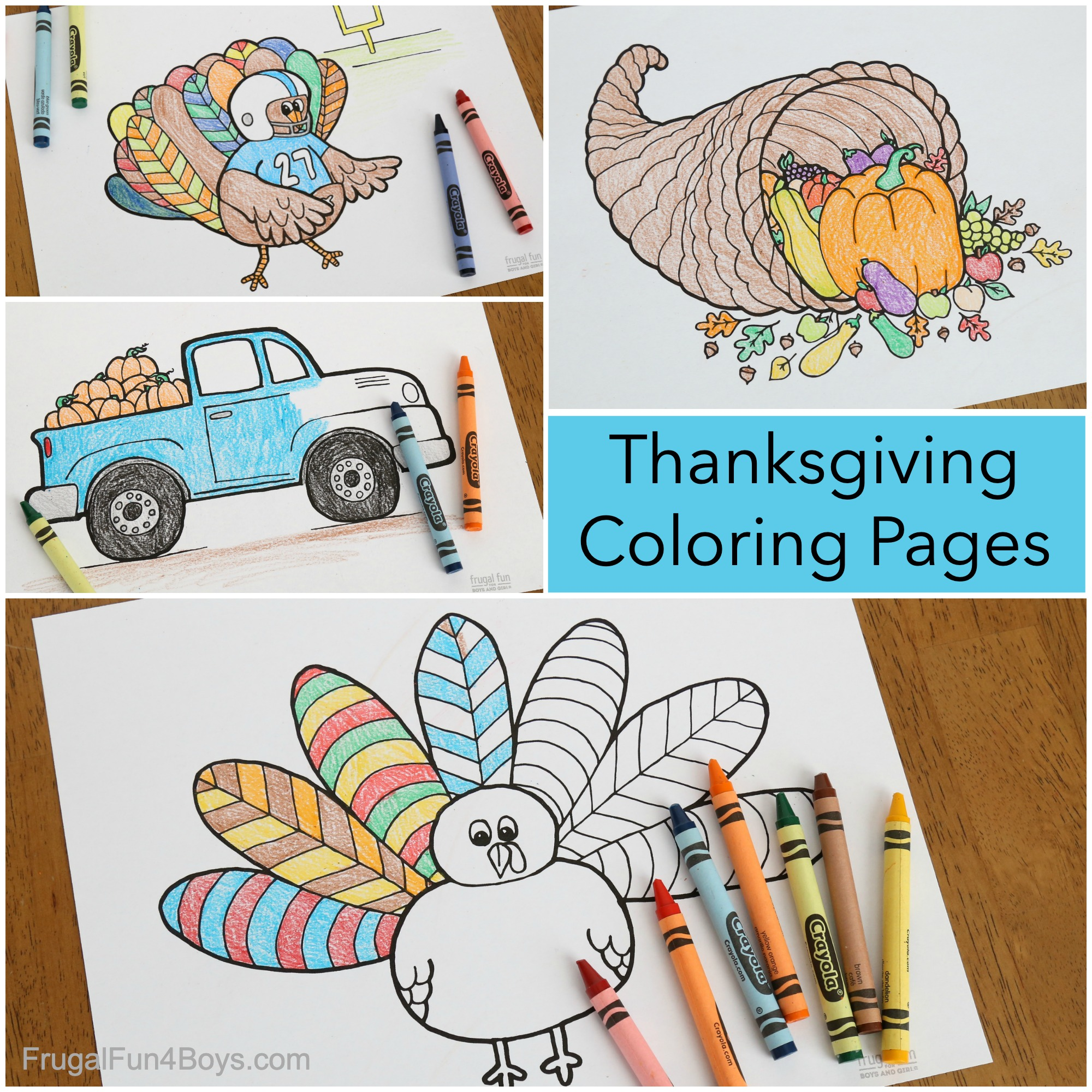Thanksgiving coloring pages - turkey, cornucopia, truck