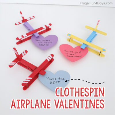 Adorable Clothespin Airplane Valentines