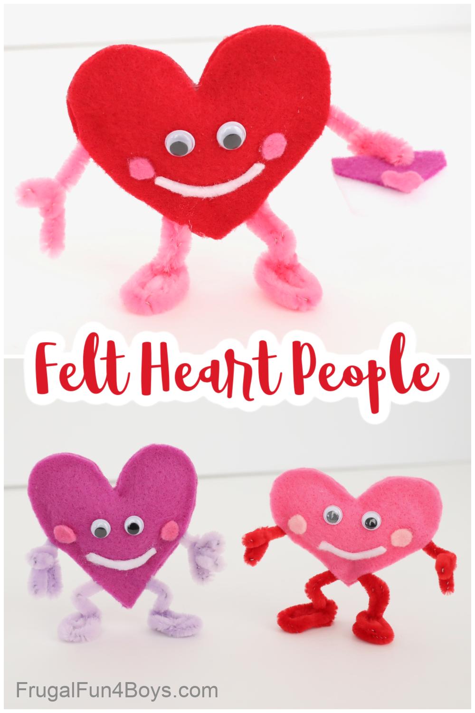 Valentine Crafts for Kids - Felt Heart People