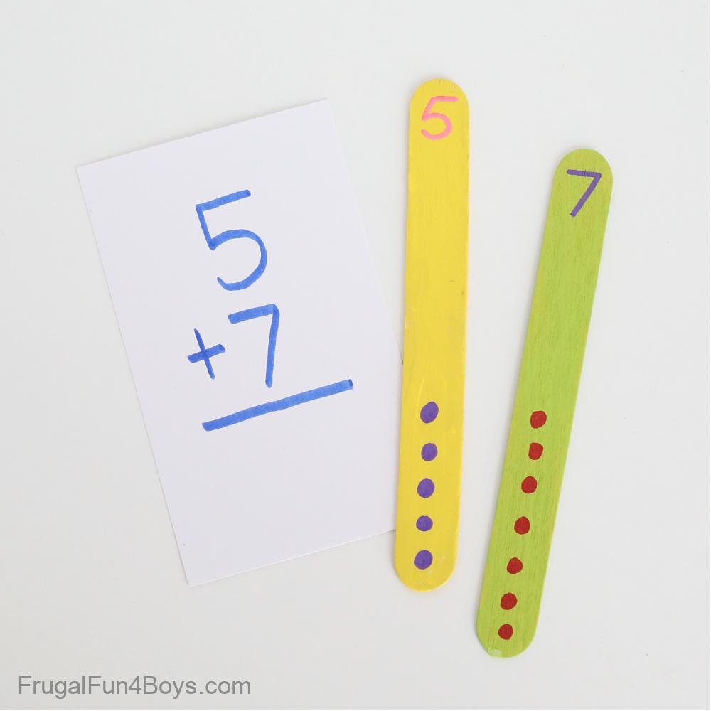 Addition Activities with craft sticks