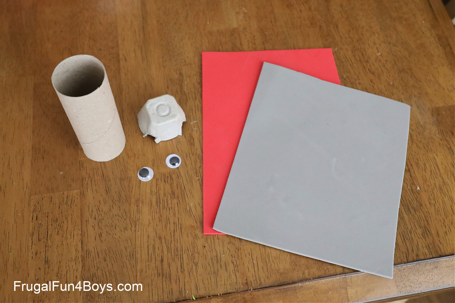 Supplies for paper roll dragon craft