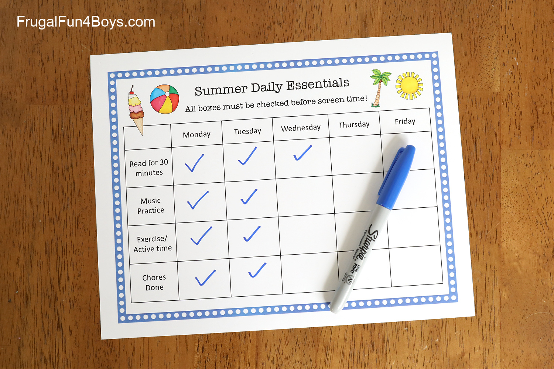 Printable Summer Checklist for Kids