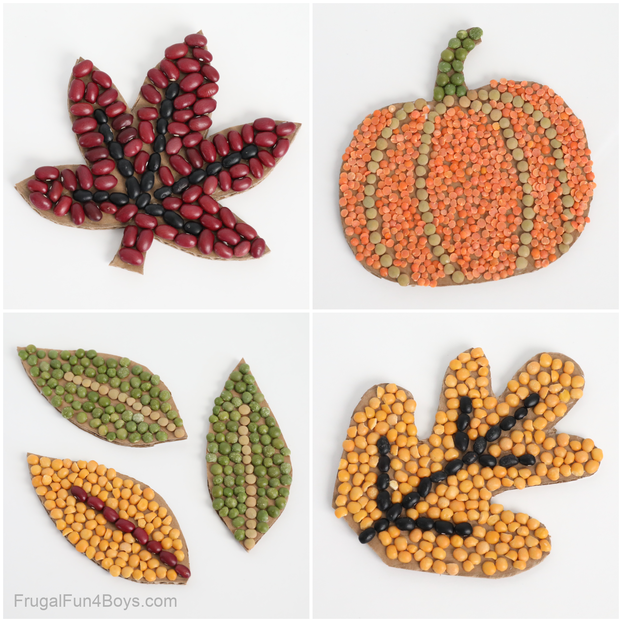 Fall Bean Mosaics - Fall Craft for Kids
